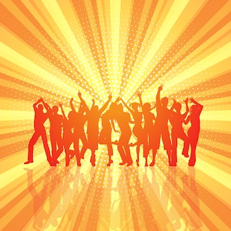 Party crowd on retro starburst background