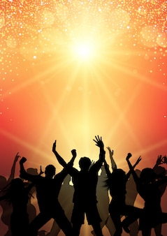 Party crowd on sunburst background