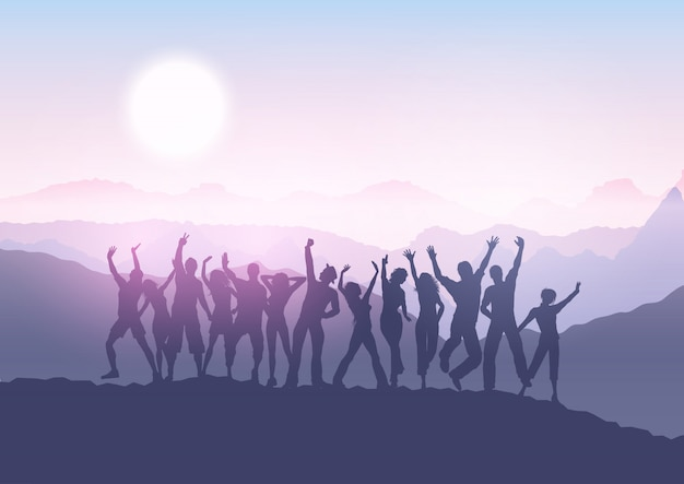 Party crowd in sunset landscape