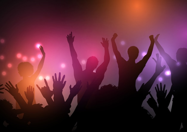 Party crowd with lights background