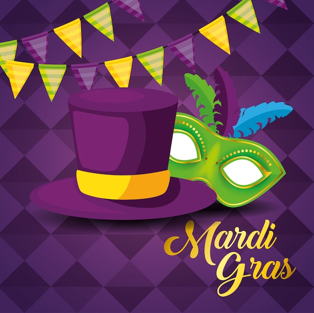 Party decoration with hat and mask for mardi gras