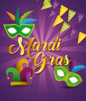 Party decoration with masks and hat to mardi gras