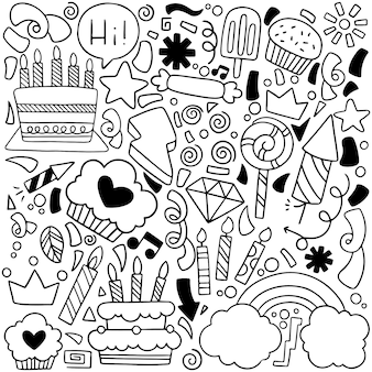 Party doodle happy birthday greeting card with drawing elements