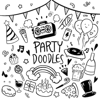 Party doodles hand drawn vector