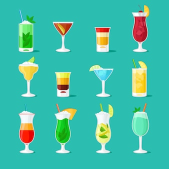 Party drinks glass vector set for bar or pub menu