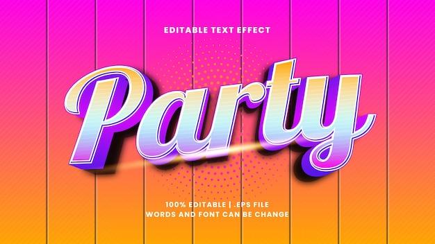 Редактируемый текстовый эффект вечеринки в современном 3d стиле