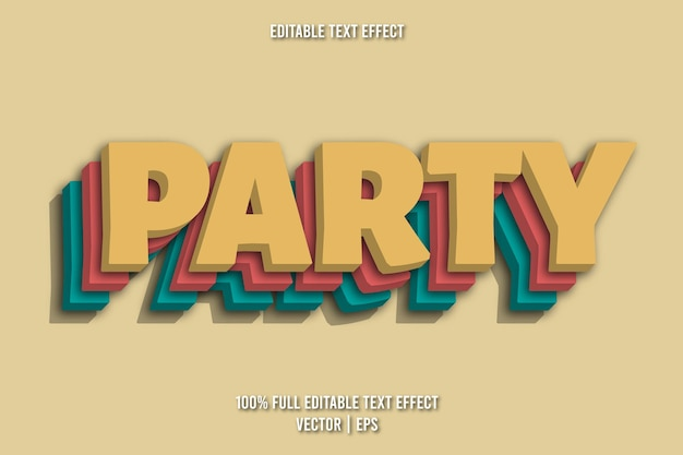Party editable text effect retro style