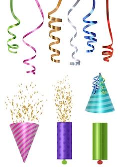 Элементы партии. цветные шапки партии попперс глянцевый серпантин и конфетти векторные реалистичные иллюстрации. праздничные элементы вечеринки по случаю дня рождения к празднику годовщины
