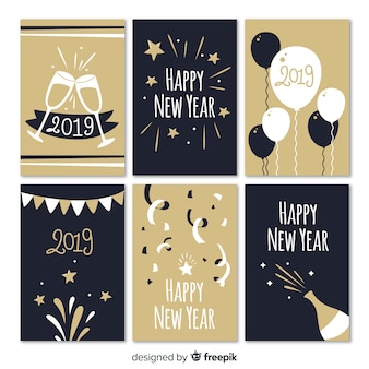 Party elements new year cards collection