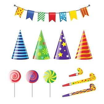 Party elements - реалистичный современный векторный набор различных праздничных объектов. белый фон. картинки для приглашения на день рождения, дизайн карты. разноцветные флаги, баннеры, остроконечные шляпы, леденец, свисток.