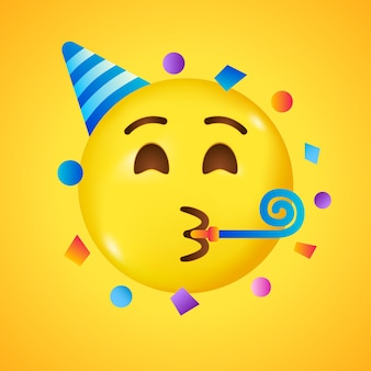Party emoji. happy face with birthday hat and confetti. big smile in 3d