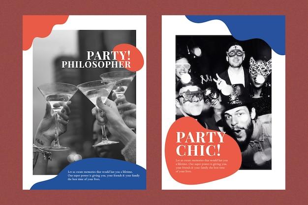 Manifesto pubblicitario di vettore di modello di marketing per eventi di festa per doppio set di organizzatori