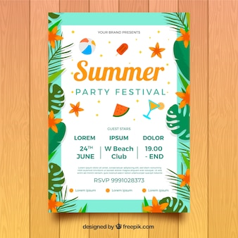 Party festival poster with plants