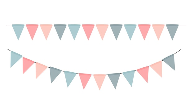 Party flag garland isolated