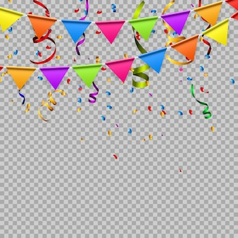 Party flags and falling confetti