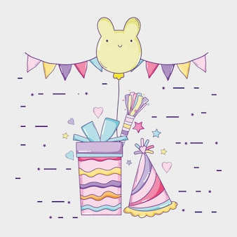 Party flags with present and bear balloon to birthday