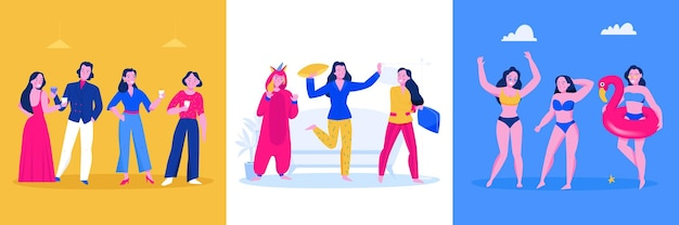 ドレス、衣装、パジャマ、水着、孤立したイラストを身に着けている笑顔の人々とパーティーフラットデザインコンセプト