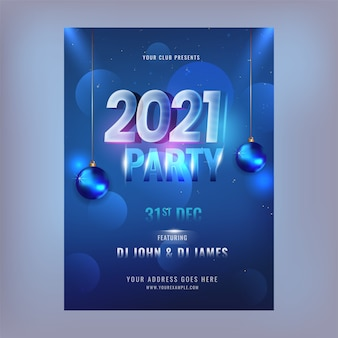 Party flyer or invitation card with lights effect