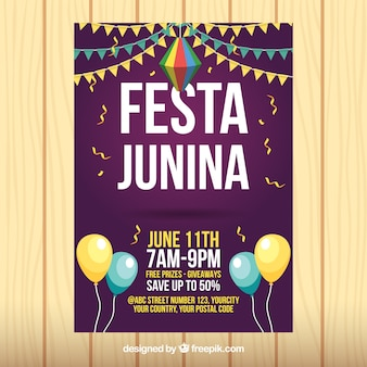 Party flyer junina with balloons