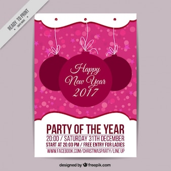 Party flyer of new year 2017 with baubles