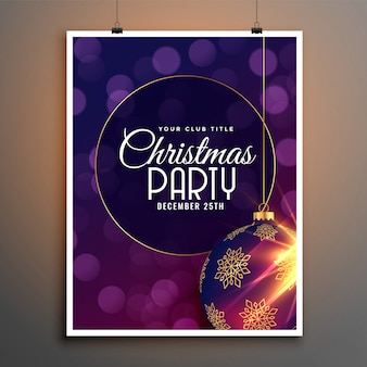 Party flyer template for christmas festival season