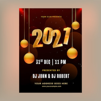 Party flyer or template design with golden number