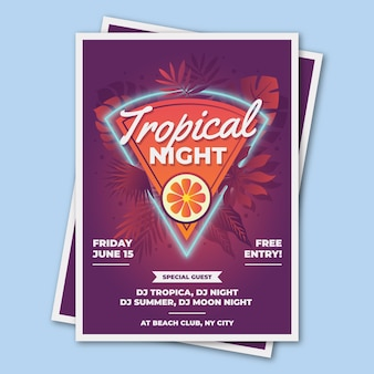 Party flyer tropical template