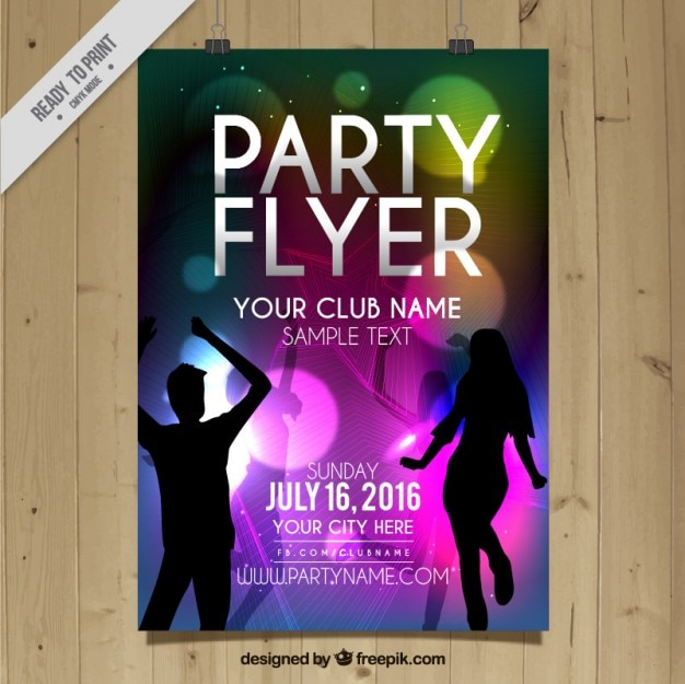 Party flyer with boy and girl dancing