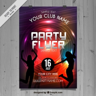 Party flyer with girls dancing Free Vector