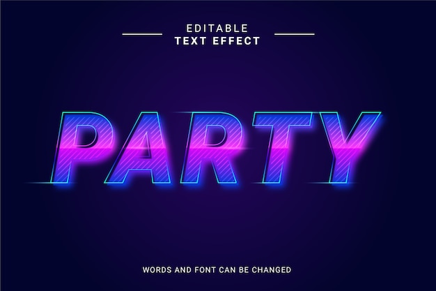 輝き線でパーティーの未来的なテキスト効果