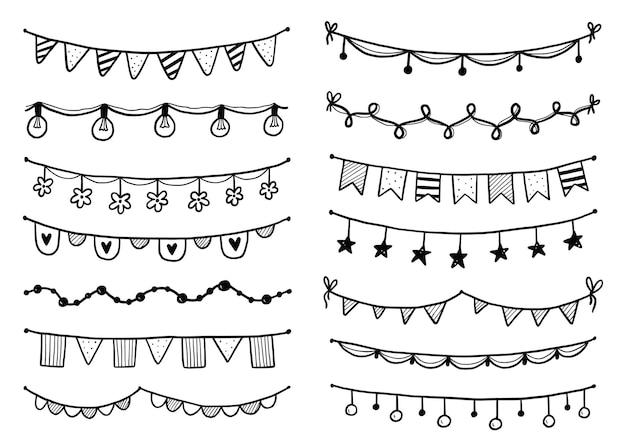 깃발, 깃발 천, 페넌트로 설정된 파티 화환. 손으로 그린 스케치 낙서 스타일 화환. 생일, 축제, 카니발 장식을 위한 벡터 삽화.