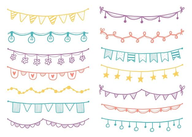 Праздничная гирлянда с флагом, овсянкой, вымпелом. ручной обращается эскиз каракули стиль гирлянды. векторная иллюстрация для дня рождения, фестиваля, карнавала обращается украшения.