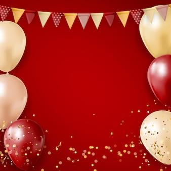 風船、旗、紙吹雪とパーティーの光沢のある休日の背景。
