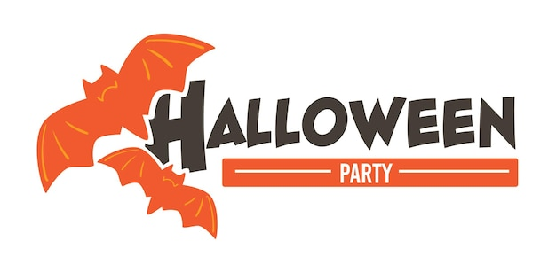 Party on halloween, isolated banner with flying bats. trick or treat celebration of traditional holiday. autumn event in usa, creative sign with decorative birds. greeting with fall season, vector