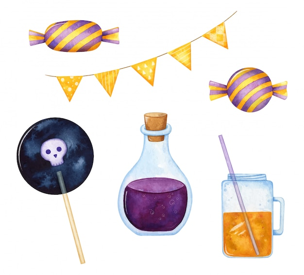 Party halloween set in purple and orange hand painted in watercolor and isolated