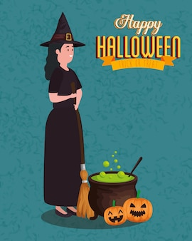 Party halloween with woman disguised of witch