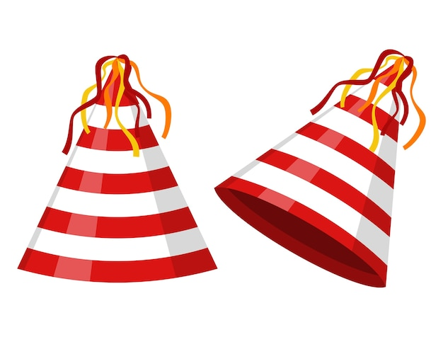 Party hat cone striped isolated. accessory, symbol of the holiday. birthday cap.