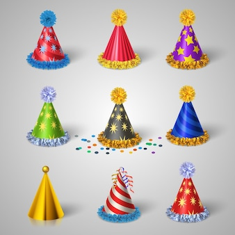 Party hat icons set