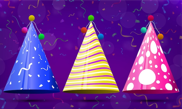 Party hat set on colourful background. birthday.   fun decoration. colorful surprise costume.