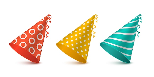 Party hat set for holiday design.