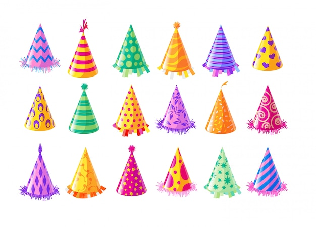 Party hat set. isolated birthday party hat or cap collection. anniversary event celebration fun. holiday decoration vector illustration