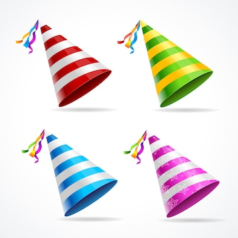 Party hat set isolated on a white background.