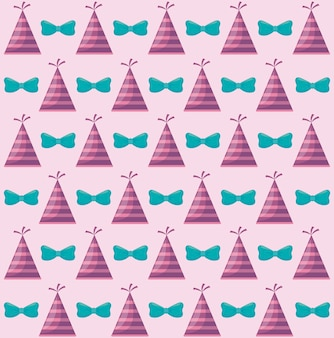 Party hat with bow decorative pattern