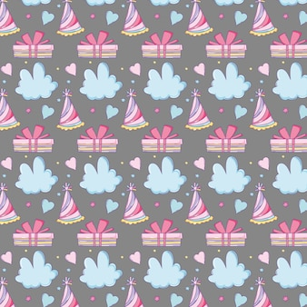Party hat with clouds and presents pattern