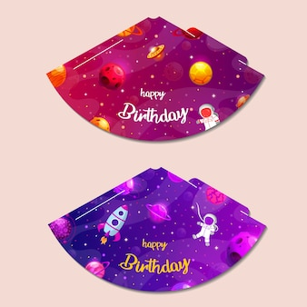 Party hats printable. space party. print and cut. happy birthday elements.  set of cones template to head for holiday.