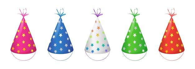 생일 축하를 위한 금, 은, 무지개 별이 있는 파티 모자. 흰색 배경에 고립 된 리본으로 재미 있는 원뿔 머리 모자의 벡터 만화 세트