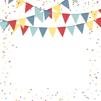 Party holiday abstract  template with flag garlands and confetti
