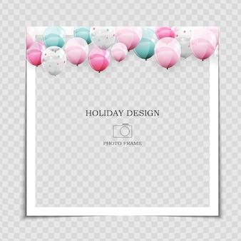 Шаблон праздничной фоторамки с воздушными шарами для публикации в социальной сети