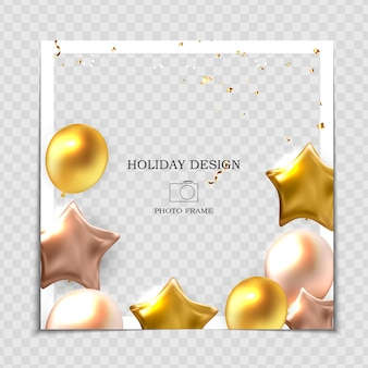 Party holiday photo frame template with balloons for post in social network.