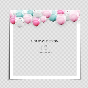 Party holiday photo frame template with balloons for post in social network